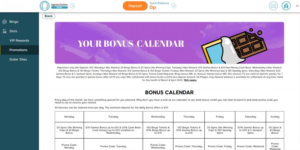 Bingo Bonus Calendar - Bonuses Online