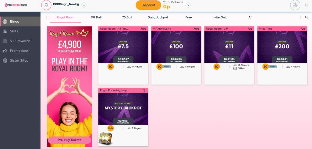 Pink Ribbon Bingo Lobby - Online Bingo Guide