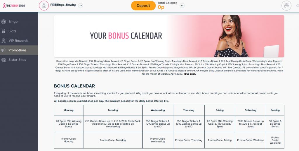 Bonus Calendar Information - Pink Ribbon Bingo