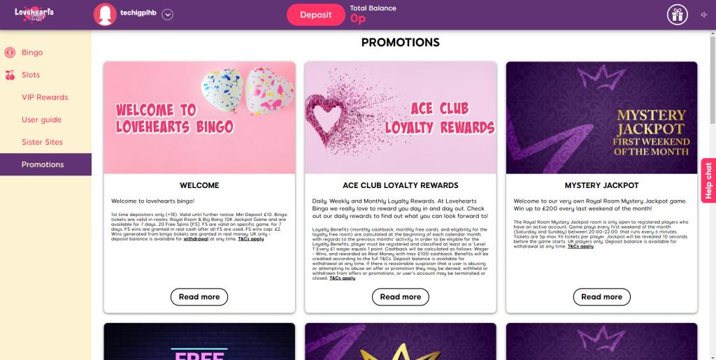 Online Bingo Promotions - Lovehearts Bingo