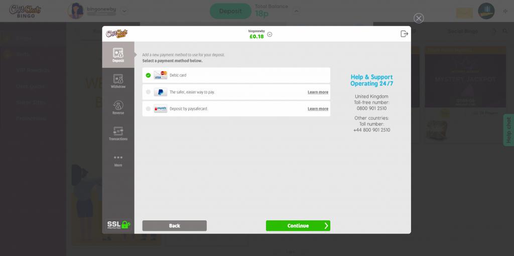 Online Bingo Cashier - Depositing & Withdrawing Details