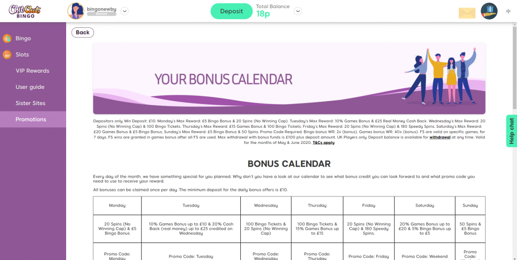 Online Bingo Bonus Calendar